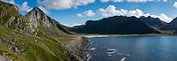View towards Unstad beach, Vestvågøy, Lofoten Islands, Norway