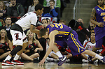 Louisville's Quentin Snider (2) takes the ball away from Northern Iowa State's Wyatt Lohaus (33) during the 2015 NCAA Division I Men's Basketball Championship's March 22, 2015 at the Key Arena in Seattle, Washington.  Louisville beat Northern Iowa State 66-53 to advance to the Sweet 16.   ©2015. Jim Bryant Photo. ALL RIGHTS RESERVED.