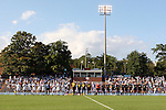 27 September 2009: The starters for both teams line up for the national anthem. The University of North Carolina Tar Heels defeated the Wake Forest University Demon Deacons 4-0 at Fetzer Field in Chapel Hill, North Carolina in an NCAA Division I Women's college soccer game.