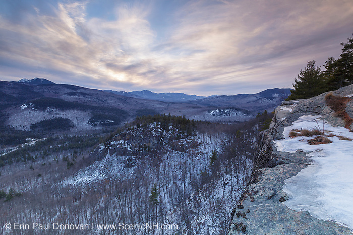 Cloudy sunset from an outlook along the Boulder Loop Trail in Albany, New Hampshire USA, which is part of the White Mountains. Mount Chocorua is in the distance.