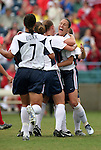 Lori Chalupny (2nd from rt) celebrates her 12th minute goal with Kate Markgraf (r), Shannon Boxx (7), and Heather O'Reilly on Sunday June 26th, 2005, during an international friendly soccer match at Virginia Beach Sportsplex in Virginia Beach, Virginia. The United States won the game 2-0.