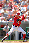 17 June 2006: Nick Johnson, first baseman for the Washington Nationals, at bat against the New York Yankees at RFK Stadium, in Washington, DC. The Nationals overcame a seven run deficit to win 11-9 in the second game of the interleague series...Mandatory Photo Credit: Ed Wolfstein Photo...