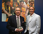 27 August 2006: Philip Anschutz (l), 2006 Hall of Fame inductee, with the New York Red Bull's Chris Henderson (r), his Hall of Fame presenter, during the opening of a new exhibit commemorating the first ten years of Major League Soccer. The President's Reception and Dinner were held at the National Soccer Hall of Fame in Oneonta, New York the evening before the 2006 Induction Ceremony.