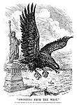 """Swooping from the west."" [It is the intention of our new ally to assist us in the patrolling of the Atlantic.]"