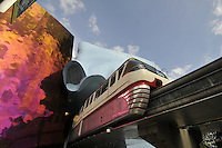 Monorail passes through, EMP Museum, Experience Music Project, designed by Frank Gehry, Seattle, Washington, USA