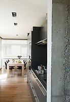 The functional kitchen has enough room for a dining table and chairs