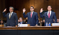 From left to right: Noel J. Francisco, Makan Delrahim, and  Steven A. Engel are sworn-in to testify before the United States Senate Committee on the Judiciary on their nominations to be Solicitor General of the US, Assistant Attorney General, Antitrust Division of the Department of Justice, and Assistant Attorney General, Office of Legal Counsel, US Department of Justice, respectively, on Capitol Hill in Washington, DC on Wednesday, May 10, 2017.<br /> Credit: Ron Sachs / CNP /MediaPunch