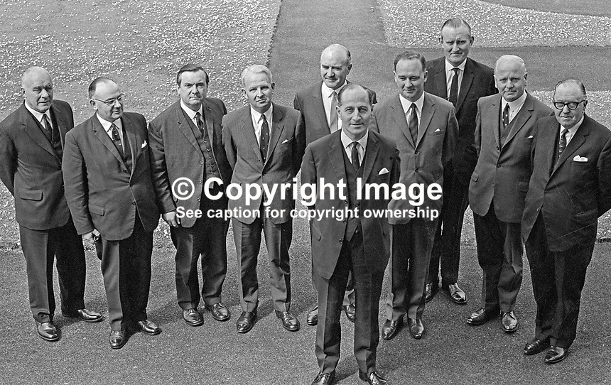 Northern Ireland Cabinet, June, 1966, Prime Minister, Captain Terence O'Neill (front). Others from left: John Andrews, Minister in and Leader of the Senate, Captain William Long, Minister of Education, Brian McConnell, leader of the House of Commons, Brian Faulkner, Minister of Commerce, Herbert Kirk, Minister of Finance, William Craig, Minister of Home Affairs, Major James Chichester-Clark, Minister of Agriculture,  William Morgan, Minister of Health and Social Services, and William Fitzsimmons, Minister of Development. 196606000170.<br /> <br /> Copyright Image from Victor Patterson, 54 Dorchester Park, <br /> Belfast, UK, BT9 6RJ<br /> <br /> t1: +44 28 9066 1296 (from Rep of Ireland 048 9066 1296)<br /> t2: +44 28 9002 2446 (from Rep of Ireland 048 9002 2446)<br /> m: +44 7802 353836<br /> <br /> e1: victorpatterson@me.com<br /> e2: victorpatterson@gmail.com<br /> <br /> www.victorpatterson.com<br /> <br /> Please see my Terms and Conditions of Use at www.victorpatterson.com. It is IMPORTANT that you familiarise yourself with them.<br /> <br /> Images used on the Internet must be visibly watermarked i.e. &copy; Victor Patterson within the body of the image and copyright metadata must not be deleted. Images used on the Internet have a size restriction of 4kbs and will be chargeable at current NUJ rates unless agreed otherwise.<br /> <br /> This image is only available for the use of the download recipient i.e. television station, newspaper, magazine, book publisher, etc, and must not be passed on to any third party. It is also downloaded on condition that each and every usage is notified within 7 days to victorpatterson@me.com<br /> <br /> The right of Victor Patterson to be identified as the author is asserted in accordance with The Copyright Designs And Patents Act (1988).