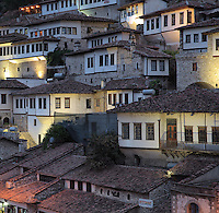 Houses in the Mangalem Quarter or Old Town of Berat, South-Central Albania, capital of the District of Berat and the County of Berat. In July 2008, the old town (Mangalem district) was listed as a UNESCO World Heritage Site. Picture by Manuel Cohen