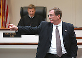 Prince William County (Virginia) Assistant Commonwealth Attorney Richard A. Conway points to sniper suspect John Allen Muhammad as he begins closing arguements during the trial of sniper suspect John Allen Muhammad at the Virginia Beach Circuit Court in Virginia Beach, Virginia on November 13, 2003. <br /> Credit: Steve Earley - Pool via CNP