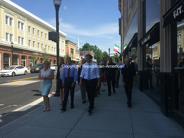TORRINGTON, CT- 1 June 2016- 060116BJ01-- Mayor Elinor Carbone gives Sens. Christopher Murphy and Richard Blumenthal and state Rep. Michelle Cook, D-Torrington, and other city officials a tour of the new sidewalks that were paid for by a federal grant the city received in 2012. Bruno Matarazzo Jr. Republican-American