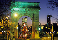 Christmas time, Christmas tree, Christmas Lights, Manhattan, New York City, New York, USA Twin Towers, World Trade Center, designed by Minoru Yamasaki, International Style II, Washington Square Park, Washington Square Arch, designed by McKim Mead & White,