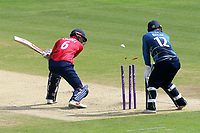 Varun Chopra of Essex is bowled out by Imran Qayyum as Adam Rouse looks on during Kent Spitfires vs Essex Eagles, Royal London One-Day Cup Cricket at the St Lawrence Ground on 17th May 2017