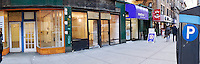 Panorama of vacant retail space in the New York neighborhood of Chelsea on Monday, March 21, 2016. (© Richard B. Levine)