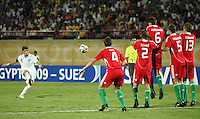 Italy's Andrea Mazzarani (8) attempts a penalty kick against Hungary's defenses during the FIFA Under 20 World Cup Quarter-final match at the Mubarak Stadium  in Suez, Egypt, on October 09, 2009. Hungary won 2-3 in overtime.