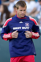 Brian McBride of Chicao Fire warms up along the sideline. The Chicago Fire beat the LA Galaxy 3-2 at Home Depot Center stadium in Carson, California on Sunday August 1, 2010.