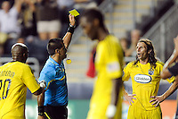 Frankie Hejduk (3) of the Columbus Crew reacts to geting a yellow card from referee Ricardo Salazar. The Columbus Crew defeated the Philadelphia Union 2-1 during a Major League Soccer (MLS) match at PPL Park in Chester, PA, on August 05, 2010.