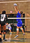28 October 2012: Yeshiva University Maccabee Moriah Green, a Senior from Anchorage, Alaska, in action against the Farmingdale State College Rams at SUNY Old Westbury in Old Westbury, NY. The Rams defeated the Maccabees 3-0 in NCAA women's volleyball play. Mandatory Credit: Ed Wolfstein Photo
