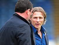 Wycombe Wanderers manager Gareth Ainsworth chats with Blackpool manager Gary Bowyer <br /> <br /> Photographer Kevin Barnes/CameraSport<br /> <br /> The EFL Sky Bet League Two - Wycombe Wanderers v Blackpool - Saturday 11th March 2017 - Adams Park - Wycombe<br /> <br /> World Copyright &copy; 2017 CameraSport. All rights reserved. 43 Linden Ave. Countesthorpe. Leicester. England. LE8 5PG - Tel: +44 (0) 116 277 4147 - admin@camerasport.com - www.camerasport.com