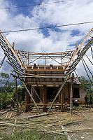 construction of a traditional house called Tongkonan, Toraja land, Sulawesi, Indonesia