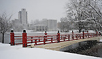 Big Spring International Park Japanese Bridge in snow on Christmas Day Dec. 25, 2010.  Bob Gathany Photographer