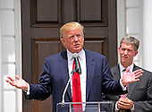 Donald Trump, a candidate for the 2016 Republican nomination for President of the United States, makes remarks during an appearance at the ribbon cutting for the Albemarle Estate at the Trump Winery in Charlottesville, Virginia on Tuesday, July 14, 2015. <br /> Credit: Ron Sachs / CNP<br /> <br /> (RESTRICTION: NO New York or New Jersey Newspapers or newspapers within a 75 mile radius of New York City)