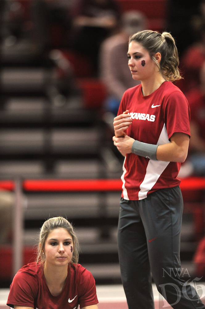 NWA Democrat-Gazette/ANDY SHUPE<br /> Arkansas competes Friday, Jan. 27, 2017, during the in the Razorback Invitational in the Randal Tyson Track Center in Fayetteville. Visit nwadg.com/photos to see more photographs from the meet.