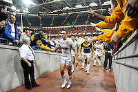 Picture by Simon Wilkinson/SWpix.com - 26/10/2013 - Rugby League - Rugby League World Cup - Australia v England - the Millennium Stadium, Cardiff, Wales - England captain Kevin Sinfield walks off dejected following his side's defeat.