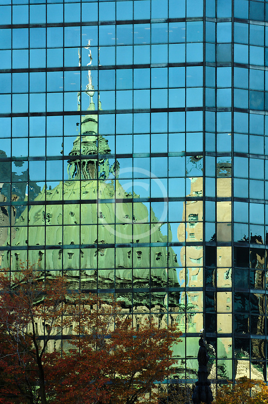 Canada, Montreal, Reflection of Basilica in office windows