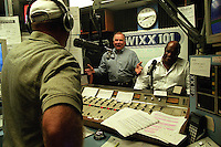 Former Green Bay Packlers Jerry Kramer and Willie Davis on WIXX radio in Green Bay to promote the Lombardi Legend's charity event in September, 2001.