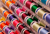 Thread selection in a fabric store.