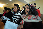 A choir sings during a worship service of the United Methodist Roma congregation in Jabuka, Serbia..