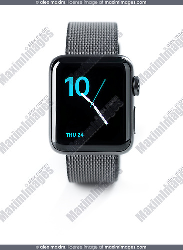 Apple Watch smartwatch with analog clock on display front view isolated on white background