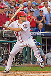 7 October 2016: Washington Nationals starting pitcher Max Scherzer at bat during the NLDS Game 1 against the Los Angeles Dodgers at Nationals Park in Washington, DC. The Dodgers edged out the Nationals 4-3 to take the opening game of their best-of-five series. Mandatory Credit: Ed Wolfstein Photo *** RAW (NEF) Image File Available ***