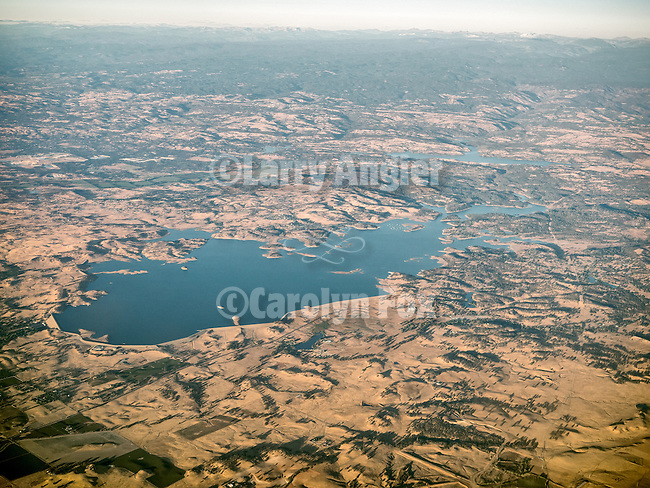 Lakes Comanche and Pardee, Amador and Calaveras Counties, Calif., from a window seat above.