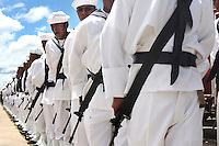 Bolivian Navy officers line up at the airport where President Evo Morales is expected to arrive. Bolivia lost what is now northern Chile in a war over nitrates leaving Bolivia without access to the ocean.