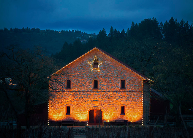 Holiday lights on winery