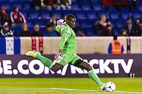 D. C. United goalkeeper Bill Hamid (28). D. C. United defeated the New York Red Bulls 1-0 (2-1 in aggregate) during the second leg of the MLS Eastern Conference Semifinals at Red Bull Arena in Harrison, NJ, on November 8, 2012.