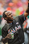 15 May 2016: Miami Marlins outfielder Marcell Ozuna stands in the dugout during a game against the Washington Nationals at Nationals Park in Washington, DC. The Marlins defeated the Nationals 5-1 in the final game of their 4-game series.  Mandatory Credit: Ed Wolfstein Photo *** RAW (NEF) Image File Available ***