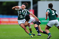 Maria Heitor of Portugal is tackled. FISU World University Championship Rugby Sevens Women's 3rd/4th Play-off between Portugal and Japan on July 9, 2016 at the Swansea University International Sports Village in Swansea, Wales. Photo by: Patrick Khachfe / Onside Images