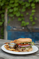 DURHAM, N.C. Tuesday August 5, 2014 - The local, pasture-raised burger with fries at Geer Street Garden, a renovated service station, in Durham, N.C. (Justin Cook for The New York Times)