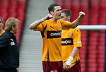 Motherwell v St Johnstone.....16.04.11  Scottish Cup Semi-Final.Jamie Murphy celebrates.Picture by Graeme Hart..Copyright Perthshire Picture Agency.Tel: 01738 623350  Mobile: 07990 594431