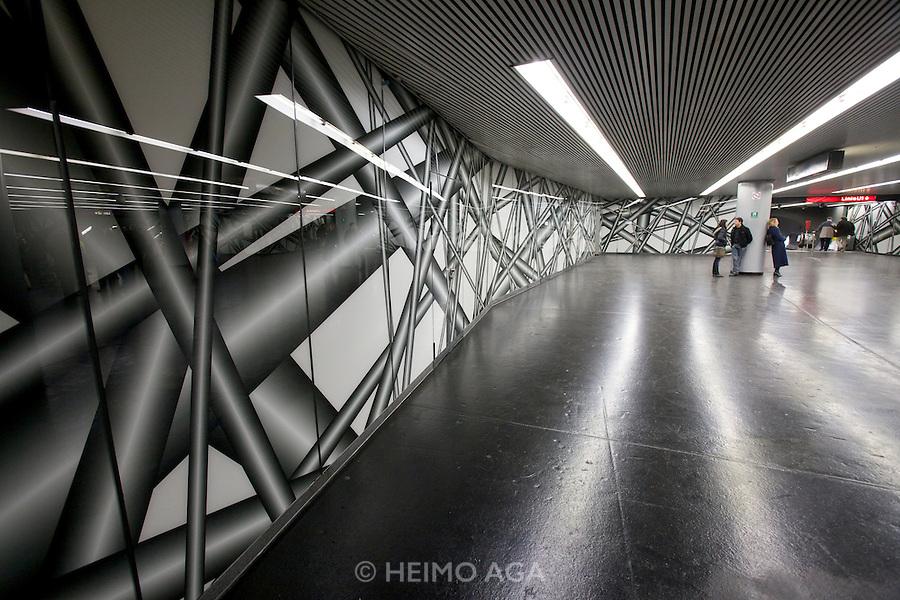 Opening of a permanent installation by internationally acclaimed Austrian artist Peter Kogler at the walls of Vienna's Karlsplatz subway station between U1 and U2 subway lines.