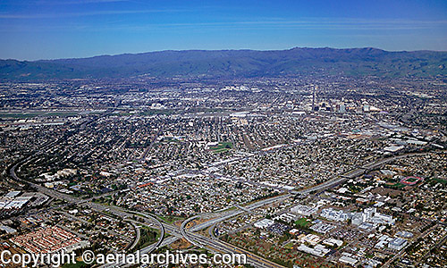 aerial photograph interstate 280 and interstate 880 interchange, San Jose, Santa Clara county, California