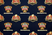 Sugar Bowl backdrop is pictured during Head Coaches Press Conference at Marriott Hotel at the Convention Center on January 2nd, 2012.