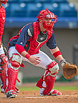 22 February 2013: Washington Nationals' catcher Chris Snyder warms up during a full squad Spring Training workout at Space Coast Stadium in Viera, Florida. Mandatory Credit: Ed Wolfstein Photo *** RAW File Available ***