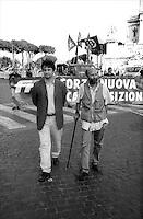 Roma  1 Luglio 2000.Manifestazione di Forza Nuova .Roberto Fiore e Massimo Morsello fondatori di Forza Nuova.Rome 1 July 2000.Demonstration of  Forza Nuova .Roberto Fiore and Massimo Morsello founders of Strength New  .