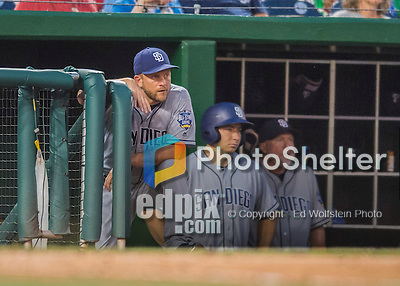 23 July 2016: San Diego Padres Manager Andy Green watches play from the dugout during a game against the Washington Nationals at Nationals Park in Washington, DC. The Nationals defeated the Padres 3-2 to tie their series at one game apiece. Mandatory Credit: Ed Wolfstein Photo *** RAW (NEF) Image File Available ***