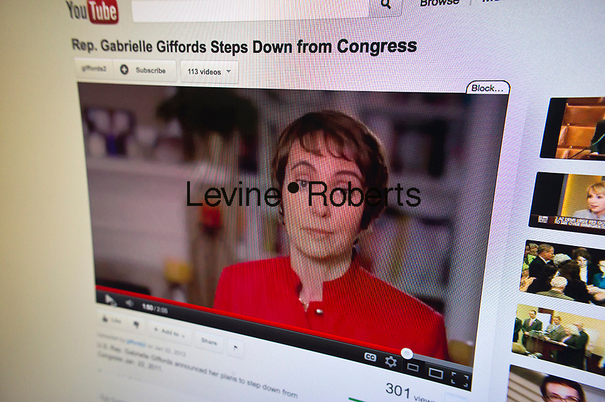 A video on the YouTube channel of Rep. Gabrielle Giffords, seen on Sunday, January 22, 2012, announces that she will be stepping down from Congress at the end of the week to continue her recovery. Giffords, who was shot in the head on January 8, 2011 in Tuscon, posted the video on social media such as Twitter and Facebook also. (© Richard B. Levine)
