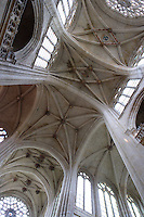 OISE, FRANCE - OCTOBER 26:  A general view of the ceiling of the ribbed vault of the Cathedral Notre-Dame de Senlis on October 26, 2008 in Oise, France. The cathedral was built between 1153 and 1191. (Photo by Manuel Cohen)